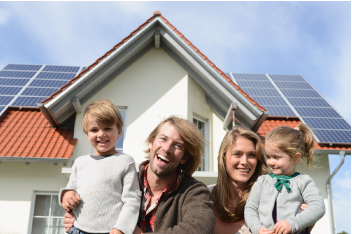 family enjoying solar and roofing