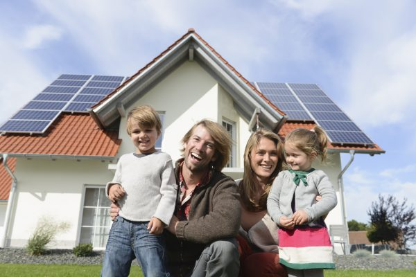 Family enjoying solar power